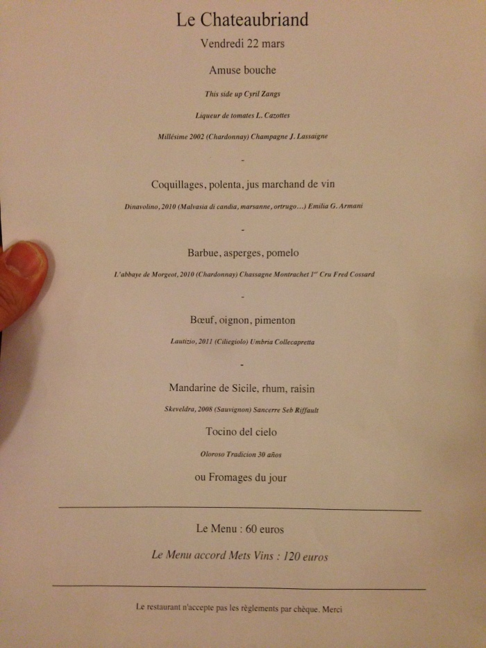 ... but fortunately we had a copy of the menu!