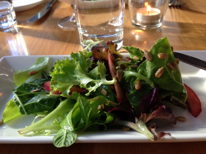 Salad with rhubarb
