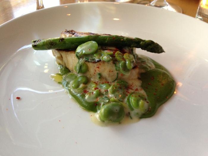 Swordfish spinach purée fave beans asparagus