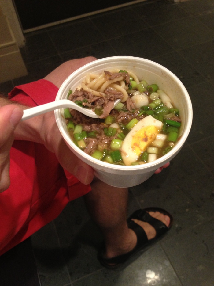 "and they also had someone peddling a ""Southern Dish"" that was a whole lot like a beef ramen ..."