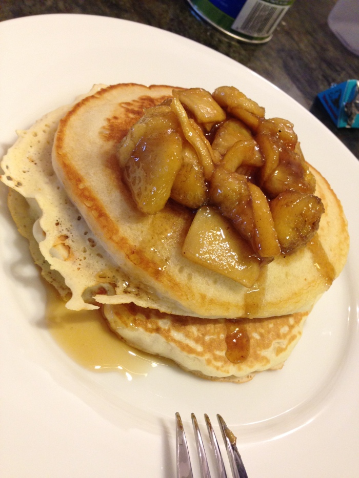 so g and I whipped up maple-apple-bananas-foster pancakes ... (with dark chocolate m&m's)