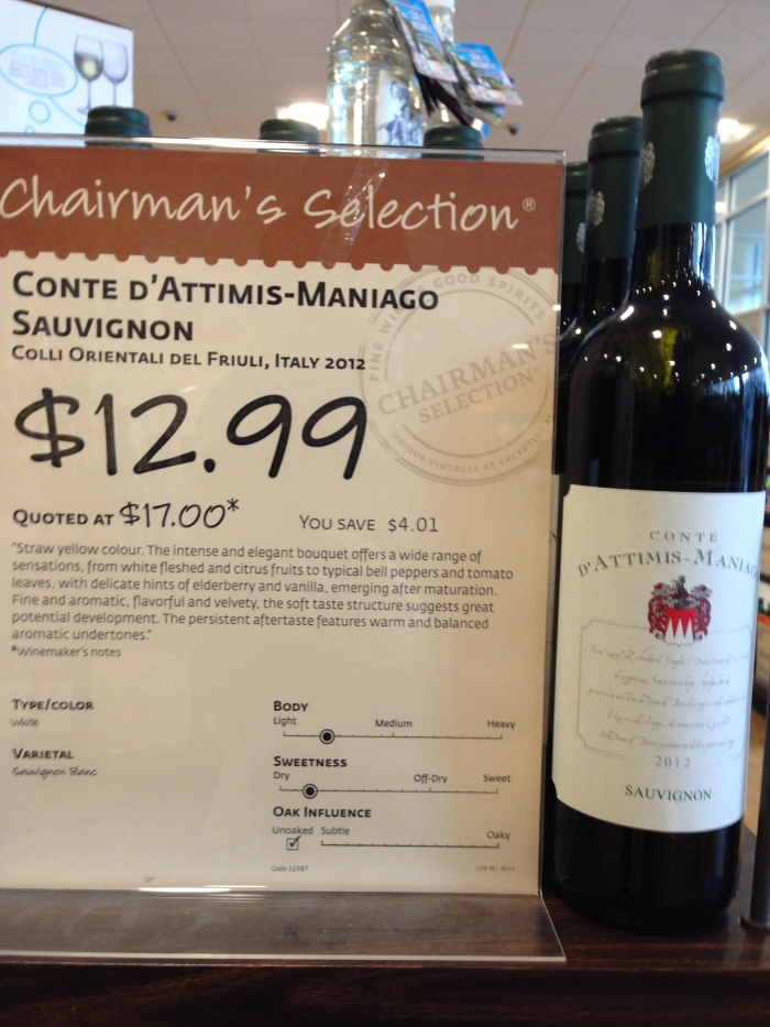 "2012 Conte d'Attimis-Maniago ""Sauvignon"" (i.e. Sauvignon Blanc - not to be confused with Cabernet Sauvignon)"