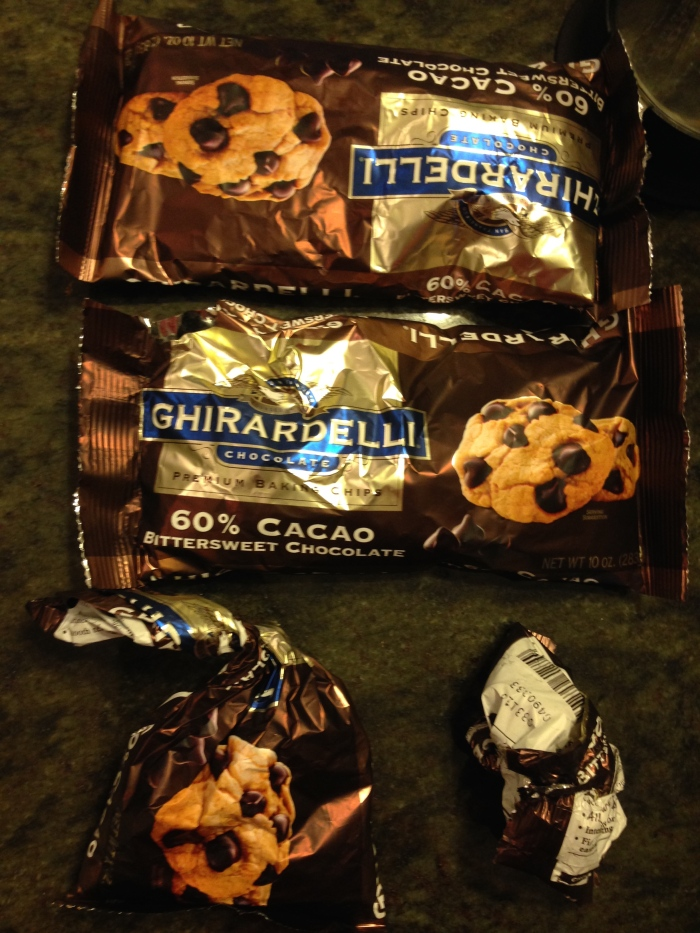 4 bags of chocolate chips ... kinda ...